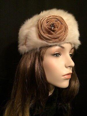 "Vintage Mousse HB White Fur Pillbox Hat w Rose Decoration made in France Sz 21"""