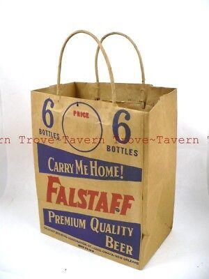 Tough 1940s Omaha Nebraska FALSTAFF BEER Paper 6-pack beer bag Tavern Trove