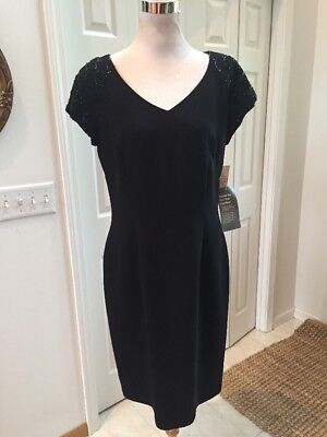 NWT Donna Morgan V Neck Beaded Cap Sleeves Back Buttons Lined 12