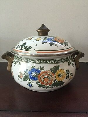 Vintage ASTA Enamelware Floral Pattern Cooking Pot w/ Brass Handles & Lid German