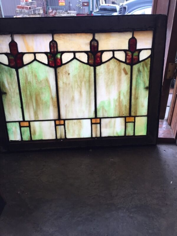 Sg 404 Arts And Crafts Antique Stainglass Window