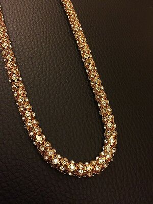 REDUCED TO CLEAR Indian Stone Gold White Long Necklace Kamar Band Bollywood