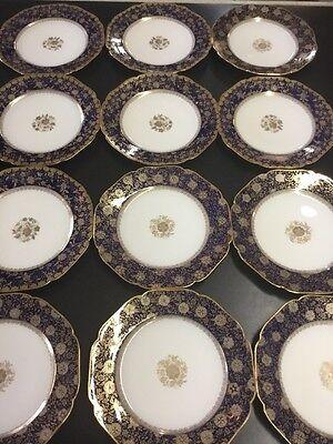 12 HAVILAND FRANCE LIMOGES COBALT GOLD SILVER  ENCRUSTED  CABINET PLATES 8 1/2