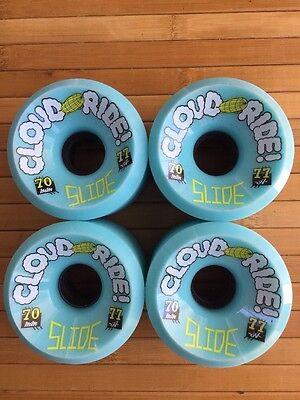 Cloud Ride Longboard Skateboard Wheels 70mm 77a Slide Formula 4 Wheels Teal New