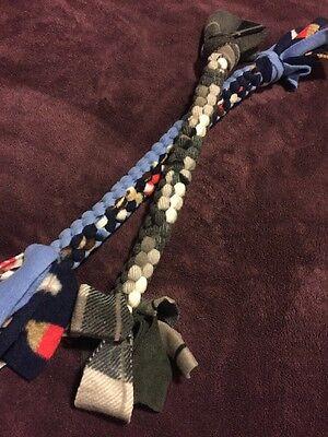 Dog Fleece Braided Tug & Chew Toy Set ~ 2 Homemade Toys 0121A