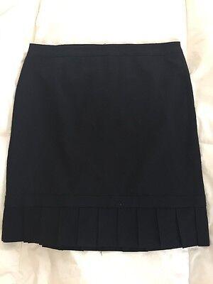 Express Pencil Skirt Size 6 Black Wool Blend Pleated Hem Career New