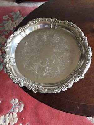 "Fine Quality 15.5"" Diam FALSTAFF Antique Silver Plated Deep Cocktail Tray C1920"