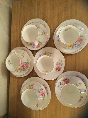 "Royal Stafford ""Sweetpea"" Vintage Gold Gilded English Bone China Tea Set,"