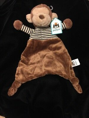Jellycat Stripey Monkey Blanket Comforter Soother Brown Blue Stripe Doudou Lovey