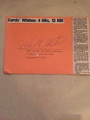 Mark Whiten Cardinals Signed 5X6 4 Hr 1993 Index Card Autograph Unique