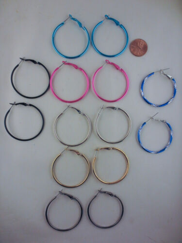 LOT OF 7 PAIRS METAL HOOP EARRINGS ASSORTED COLORS 1 1/2""