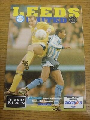 Leeds 16 Light (16/12/1990 Leeds United v Everton  (Light Fold). Footy Progs (AKA)