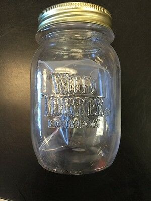 One NEW Wild Turkey Bourbon Whiskey glass mason jar With Wild Turkey Barrel KIT