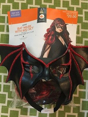 NWT Adult Bat Mask & Black Red Wig Halloween Costume Long Hair Rocker Goddess - Wigs Target