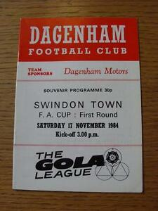 17-11-1984-Dagenham-v-Swindon-Town-FA-Cup-Item-in-very-good-condition-no-obv