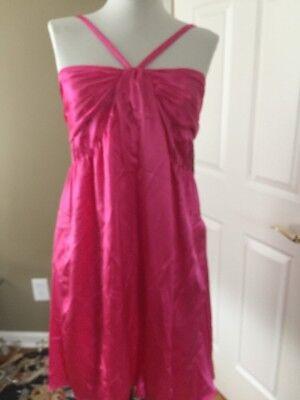(NEW $226 MOLLY B. silk satin Hot pink spaghetti strap back tie shift dress 4 PKT)