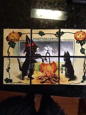 Bethany Lowe Halloween Puzzle Blocks--Black Cats & Witches--Set of 6