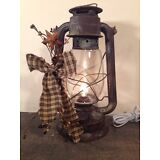 Country primitive electric metal lantern farmhouse Home Decor