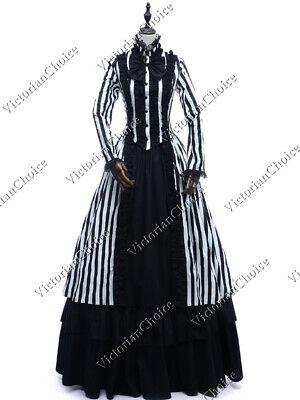 Steampunk Victorian Costume (Gothic Victorian Steampunk Black White Striped Dress Mary Poppins Punk Gown)