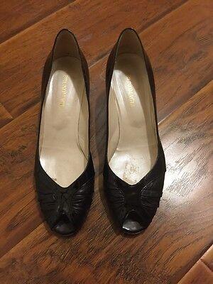 Bruno Magli Black Patent Leather Peep Boo Heels 9.5 B 2