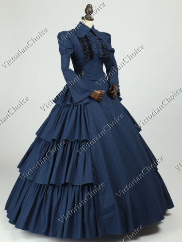 Navy Victorian Gothic Maid Dress Dickens Fair Gown Theater Steampunk Costume 007