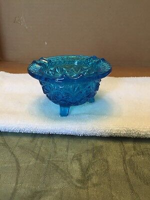 Vintage Blue Cut Glass Look Three Footed Ashtray