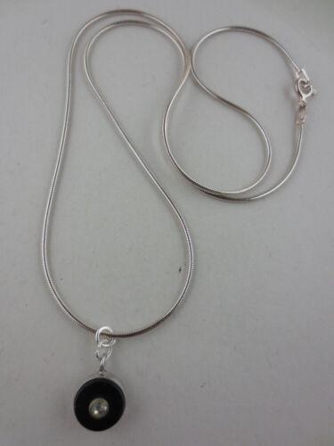 Vint Sterling Silver Rhinestone Black Glass Pendant Necklace Van Dell Sterling