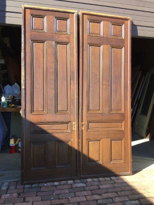 "Ar 139 1 Set Antique Raised Panel Pine Pocket Doors 70"" X 106"""