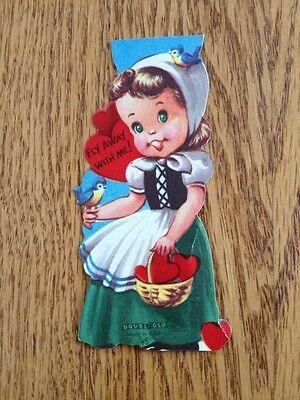 Vtg Valentine Die Cut Heidi Alpine Girl Blue Bird Fly Double Glo c1950s ~Unused ()