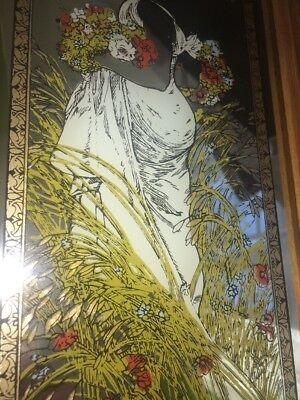 """Alphonse Mucha 70s Art Nouveau Revival Lithograph Mirror Summer Vintage 13""""x7.5"""""""