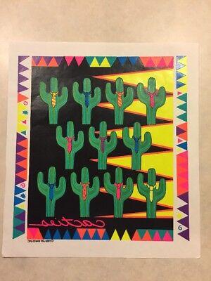 Vintage Shirt Heat Transfer Cactus Gag Pun Fluorescent And Bright 1990