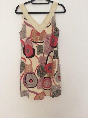 JENNY HAN MULTICOLORED SILK PAISLEY PRINT SHORT SHIRT DRESS-M 100% Fever