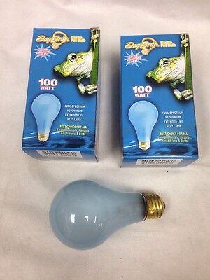 Day Brite 100W A21 Frost Neodymium Reptile Pet Full Spectrum Light Bulb 2-pcs