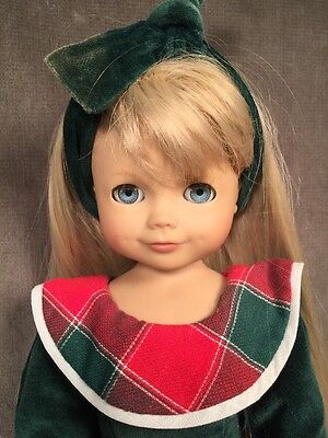 "Adorable Gotz Puppe Dolls Morgan Vinyl 17"" Tagged Holiday Dress"