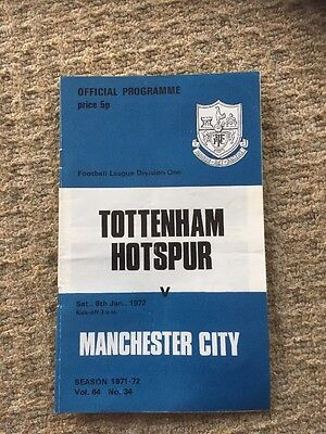 8th January 1972Tottenham H. v Manchester City Programme