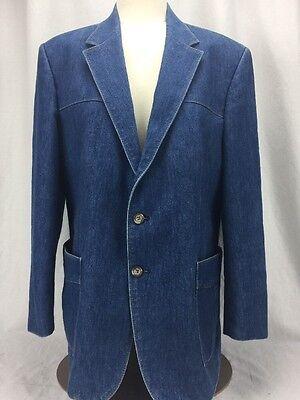 Vintage Levis Panatela Blue Denim Jean Blazer Sport Coat Jacket Men 44R 2-Button