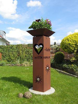 Säule Rost Herz mit Schale Metall Edelstahlkugel Garten Deko Stele Dekoration