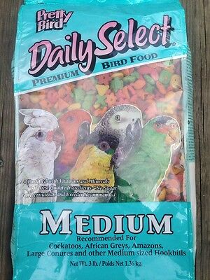 PRETTY BIRD PELLETS daily select medium, parrot food, african, amazon conure 3lb