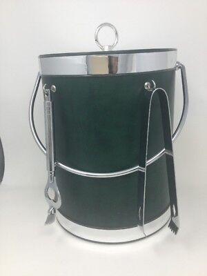 Vintage Mid Century Mr Ice Bucket 3qt Faux Green Leather Accessories USA