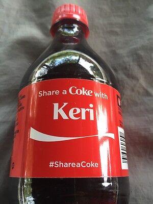 Share a COKE with KERI 20 fl oz Collectible Bottle RARE Coca-Cola HTF Name