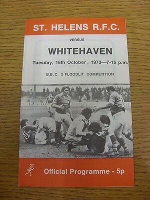 16/10/1973 Rugby League Programme: St Helens v Whitehaven [BBC Floodlit Trophy]