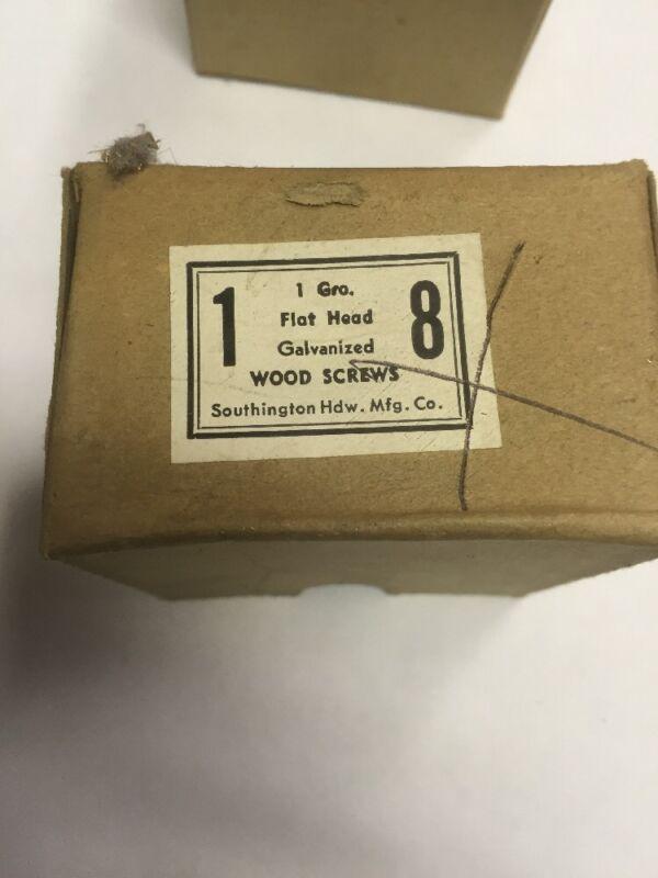 Vintage # 8 X 1 Inch Galvanized Flat Head Wood Screws  By Southington 144 / Box