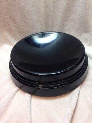 Vintage RARE Large Round Black Amethyst Glass Globe Stand Pedestal Base Vase