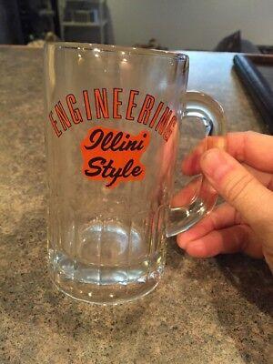 (Vintage Illini Style Engineering,Illinois Fighting Illini Glass Mug 5.25in Tall)