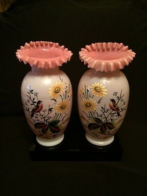 Antique circa 1880's Pair Victorian Opaline Glass Ruffle Top Hand Painted Vases