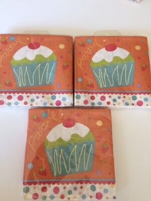 Birthday Beverage Napkins Party Cupcake 3 Packs Of 16ct