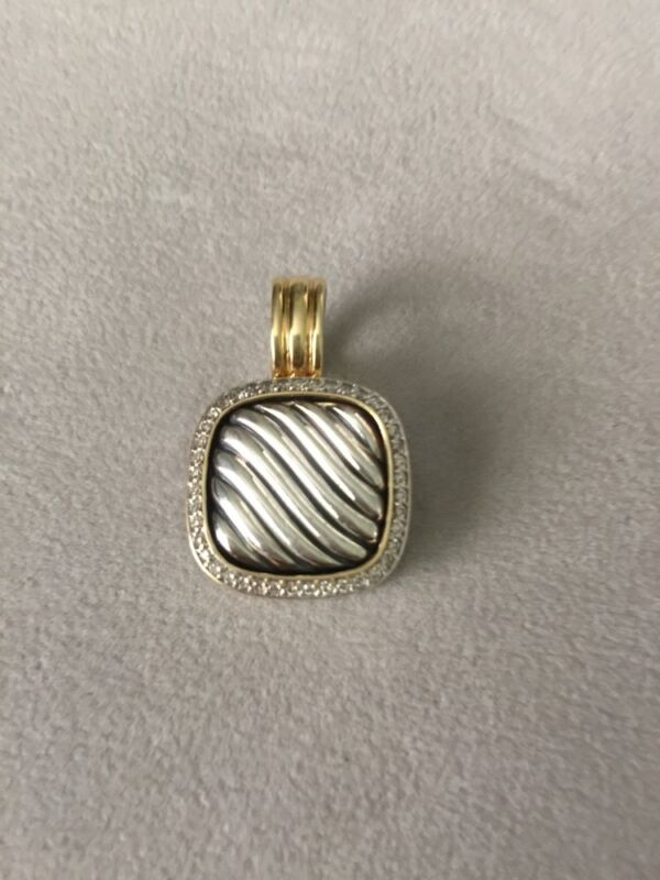 David Yurman .925 Sterling Silver .750 18k Gold  Diamond Cable Enhancer