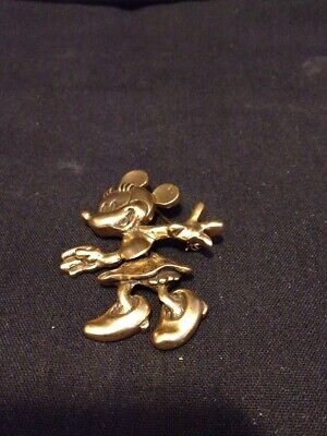 Vintage Disney Minnie Mouse Gold tone Movable Pin Brooch Signed