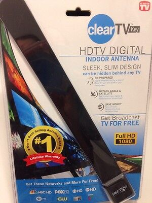NIB Clear TV KEY FREE HDTV Digital TV Indoor Antenna Ditch Cable As Seen On TV