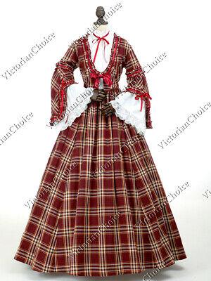 Victorian Dickens Plaid Pioneer Woman Prairie Dress Halloween Costume Gown 158